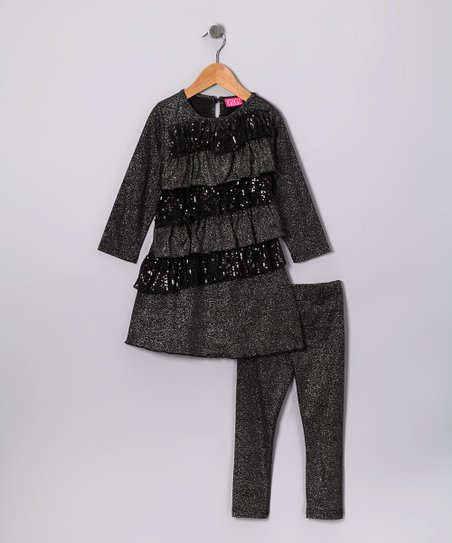 Black Sequin Ruffle Tunic & Leggings - Infant, Toddler & Girls