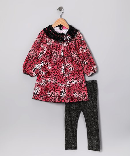 Pink Leopard Tunic &amp; Sparkle Leggings - Toddler &amp; Girls