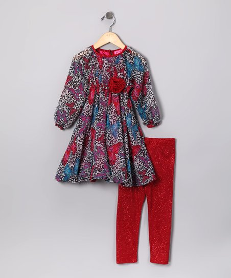 Leopard Butterfly Dress & Red Sparkle Leggings - Toddler & Girls