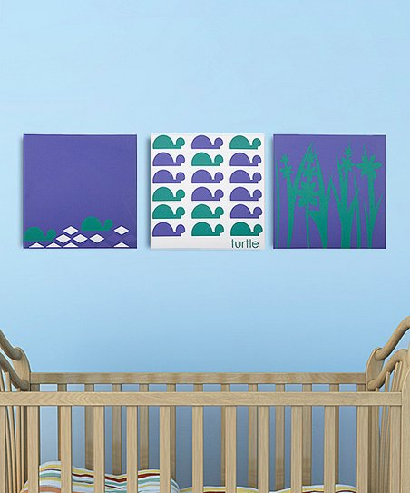 Bold Turtle Swamp Canvas - Set of Three
