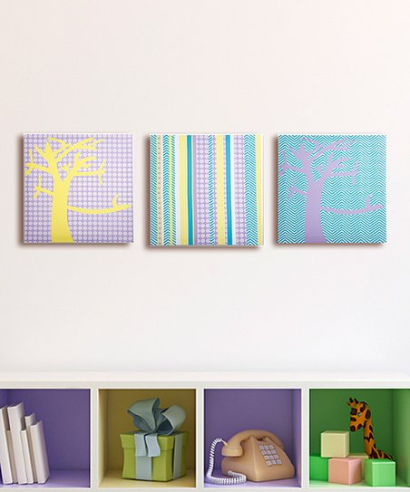Sweets Pretty Nature & Stripes Canvas - Set of Three