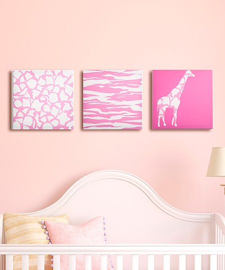 Rose Pink Animal Party Canvas - Set of Three