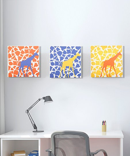 Rusty Giraffe Walk Canvas - Set of Three