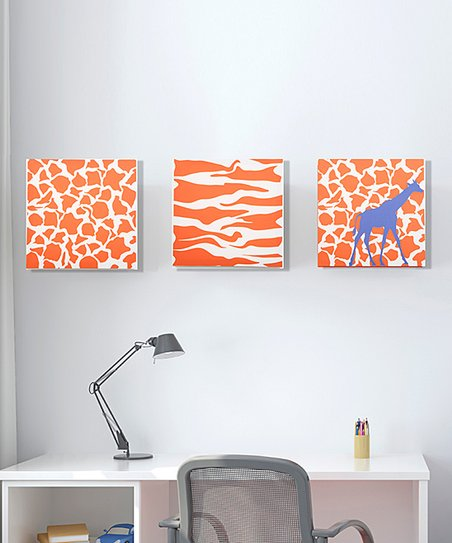 Rusty Orange Giraffe Canvas - Set of Three