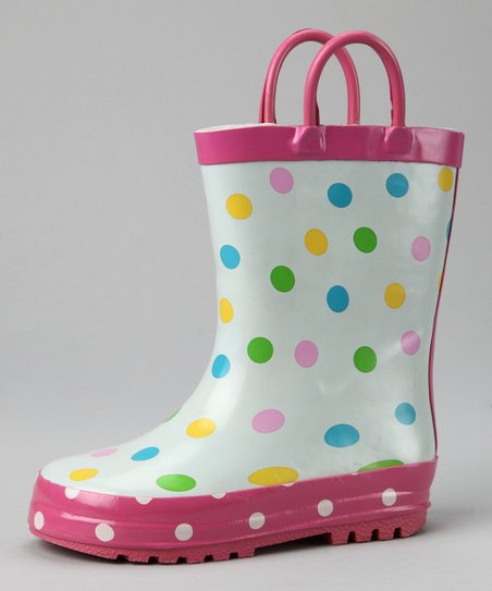 Gina Group Pink Polka Dot Rain Boot