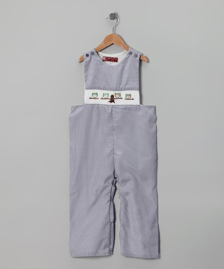 Gray Owl Gingham Overalls - Infant & Toddler
