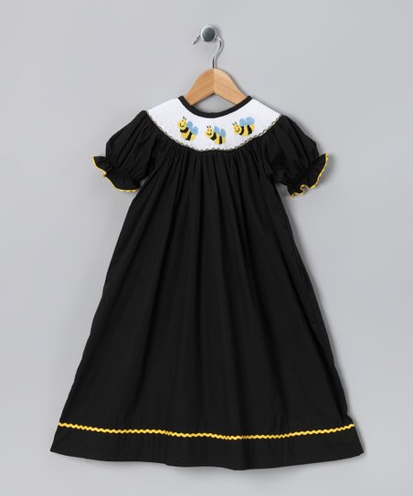 Ginger Hares Black Bee Bishop Dress - Infant, Toddler & Girls