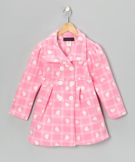 Pink Plaid Heart Fleece Double-Breasted Jacket - Girls