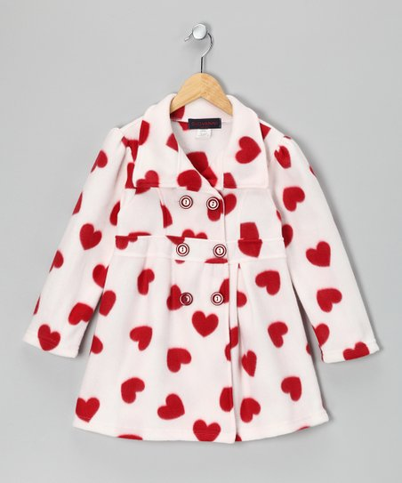 White & Red Heart Fleece Double-Breasted Jacket - Girls