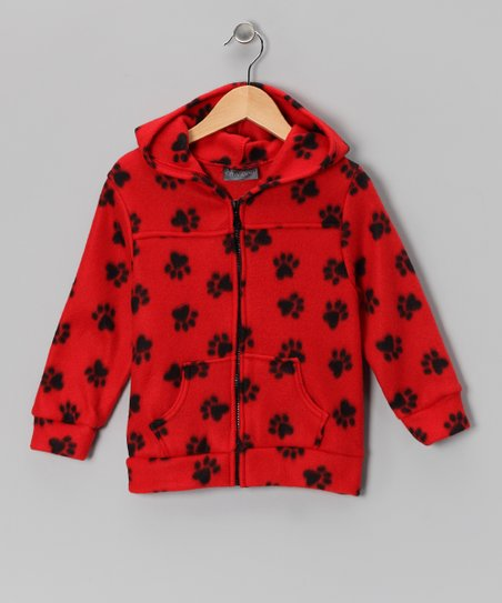 Red & Black Paw Polar Fleece Coat - Kids
