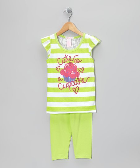 Lime Stripe 'Cupcake' Tunic & Leggings - Infant & Toddler