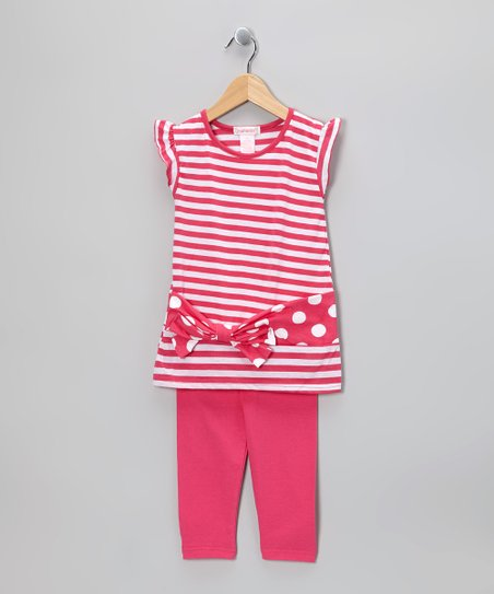 Pink Stripe Tunic & Leggings - Infant, Toddler & Girls