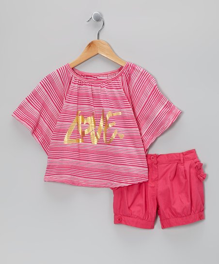 Pink Stripe &#039;Love&#039; Cape-Sleeve Top &amp; Shorts - Girls