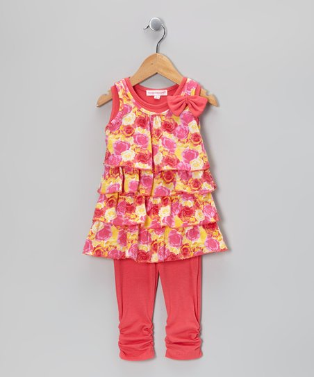 Peach Floral Bow Ruffle Top & Leggings - Girls