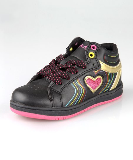 Black & Hot Pink Hi-Top Sneaker