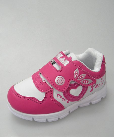 White & Hot Pink Heart Sneaker