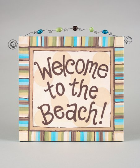'Welcome to the Beach' Beaded Canvas Art