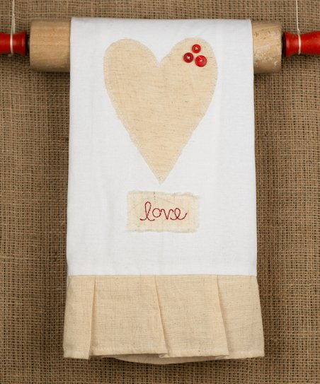 Natural Heart Button Tea Towel