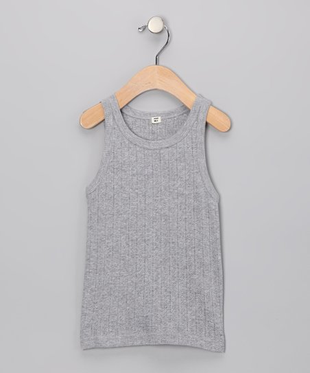 Gray Pointelle Organic Tank - Toddler & Girls
