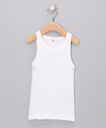 White Pointelle Organic Tank - Toddler & Girls