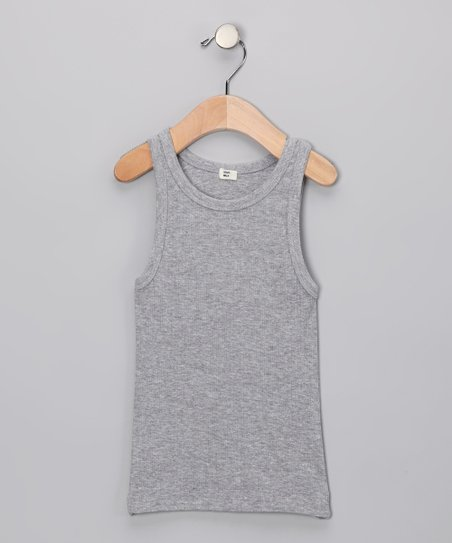 Gray Ribbed Organic Tank - Toddler & Girls