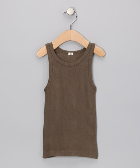 Olive Ribbed Organic Tank - Toddler & Girls