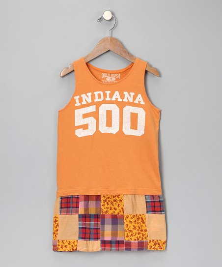 Orange 'Indiana 500' Patchwork Dress - Girls