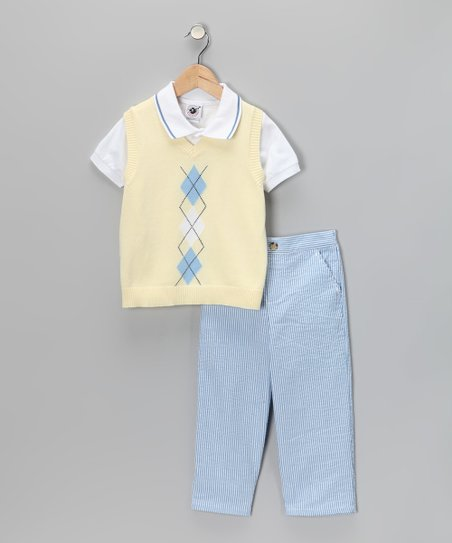 Yellow Argyle Sweater Vest Set - Infant, Toddler & Boys