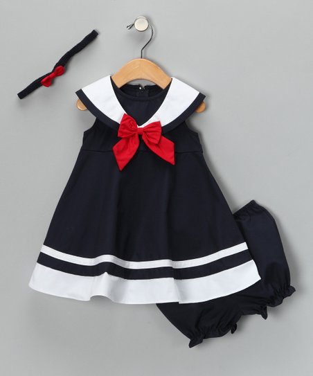 Navy Nautical Dress Set - Infant, Toddler & Girls