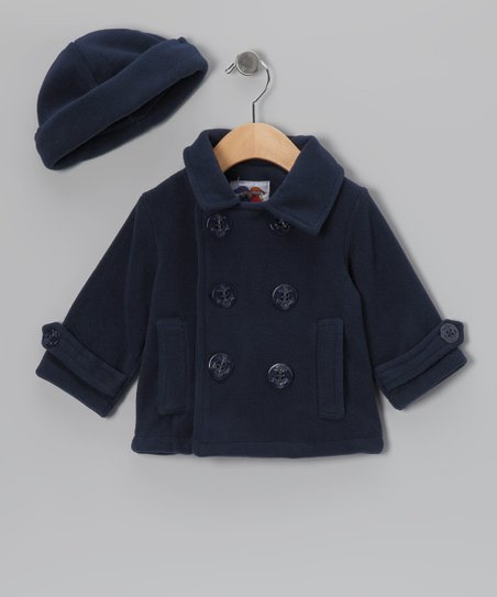 Navy Fleece Peacoat & Hat - Infant & Toddler