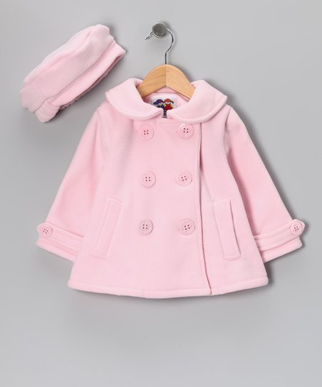 Pink Anchor Fleece Peacoat &amp; Hat - Toddler
