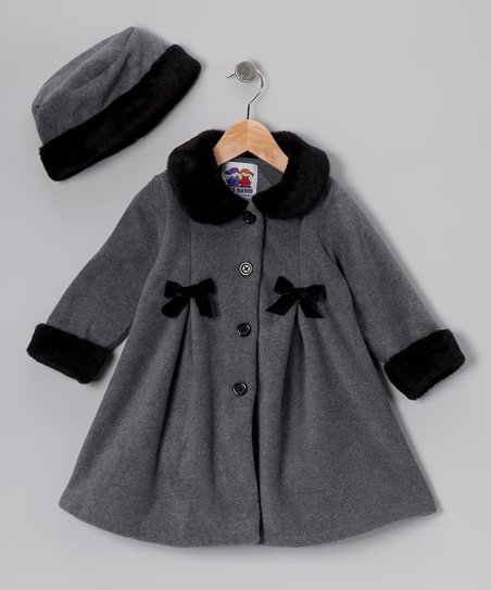 Gray Bow Fleece Coat & Hat - Toddler & Girls