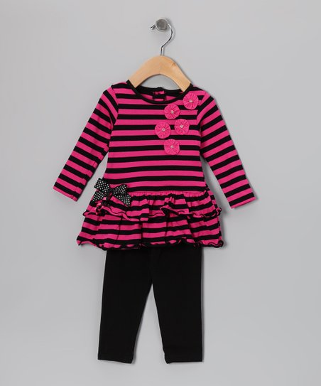Pink Stripe Flower Tunic & Black Leggings - Infant