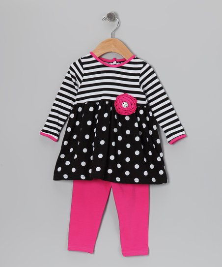 Black Stripe Tunic & Pink Leggings - Infant