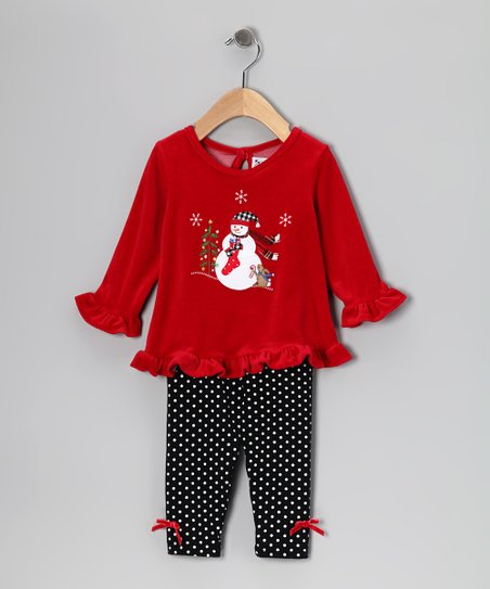 Red Snowman Tunic & Black Leggings - Infant & Toddler