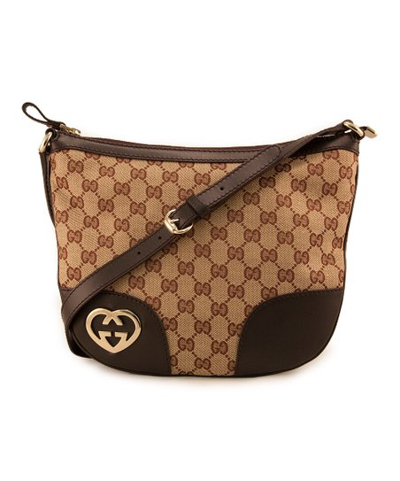 Beige & Brown Heart Crossbody Bag