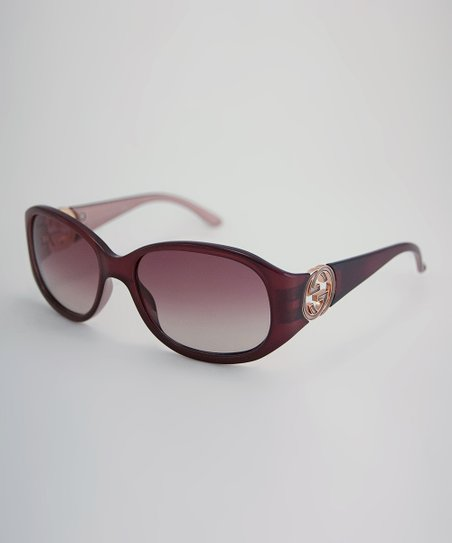 Burgundy & Pink Logo Oval Sunglasses