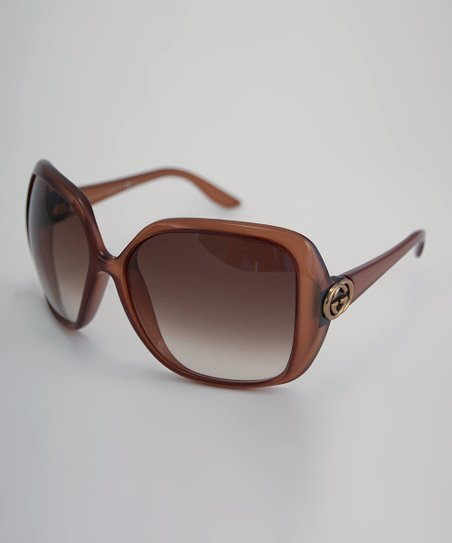Brown Double &#039;G&#039; Oversized Square Sunglasses
