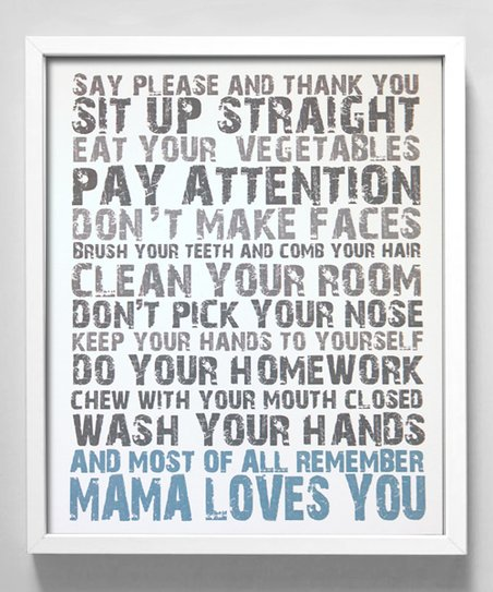 Blue 'Mama Loves You' Print