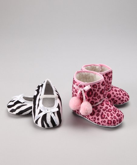 Pink Leopard & Zebra Bootie Set - Infant