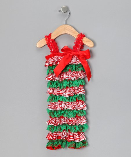 Red & Green Lace Ruffle Romper - Infant & Toddler