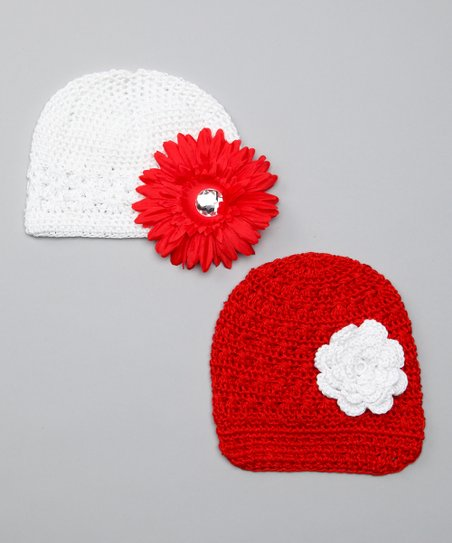 Red &amp; White Flower Beanie Set