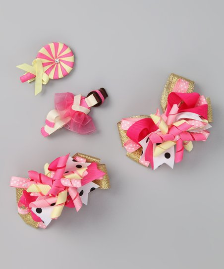 Pink &amp; Yellow Ballerina Lollipop Clip Set