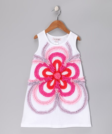 White Concentric Flower Dress - Girls