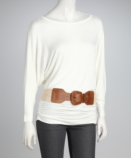 Cream Belted Dolman Top