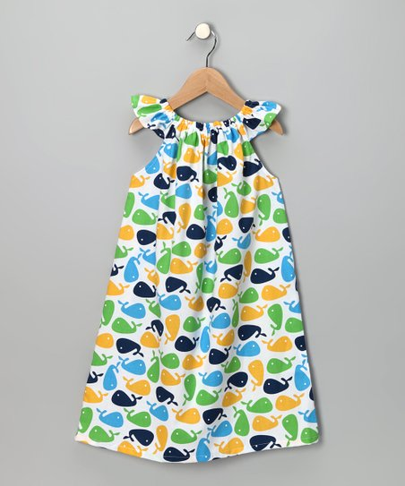 Blue & Yellow Whale Angel-Sleeve Dress - Infant, Toddler & Girls