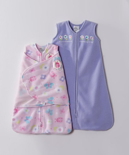Purple Flower & Ladybug Microfleece HALO SleepSack & Swaddle
