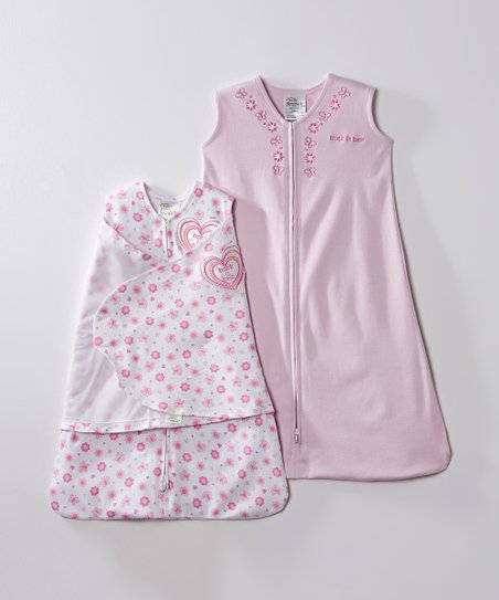 Pink Heart & Flower SleepSack & Swaddle