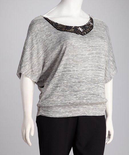 Halo Gray & Gold Beaded Plus-Size Dolman Top