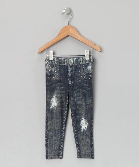 Gray Distressed Skinny Jeans - Girls